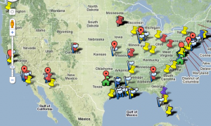 Google map of libraries renovated by the Heart of America Foundation
